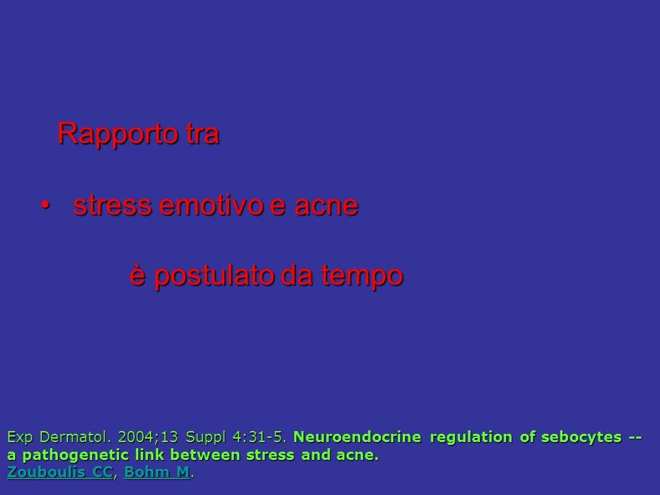 Rapporto tra Rapporto tra stress emotivo e acne stress emotivo e acne è postulato da tempo è postulato da tempo Exp Dermatol.