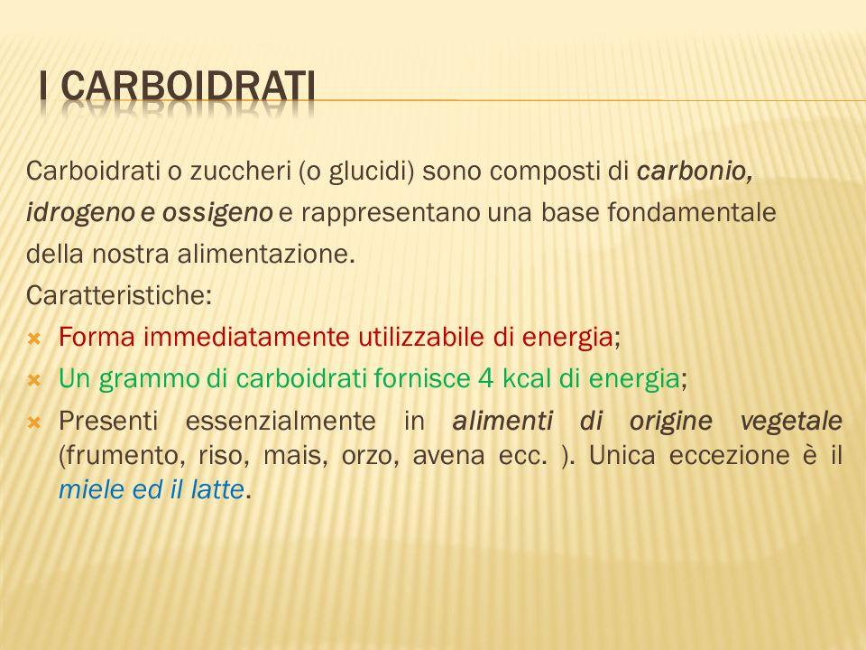 Carboidrati o zuccheri (o glucidi) sono composti di carbonio, idrogeno e ossigeno e rappresentano una base fondamentale della nostra alimentazione.