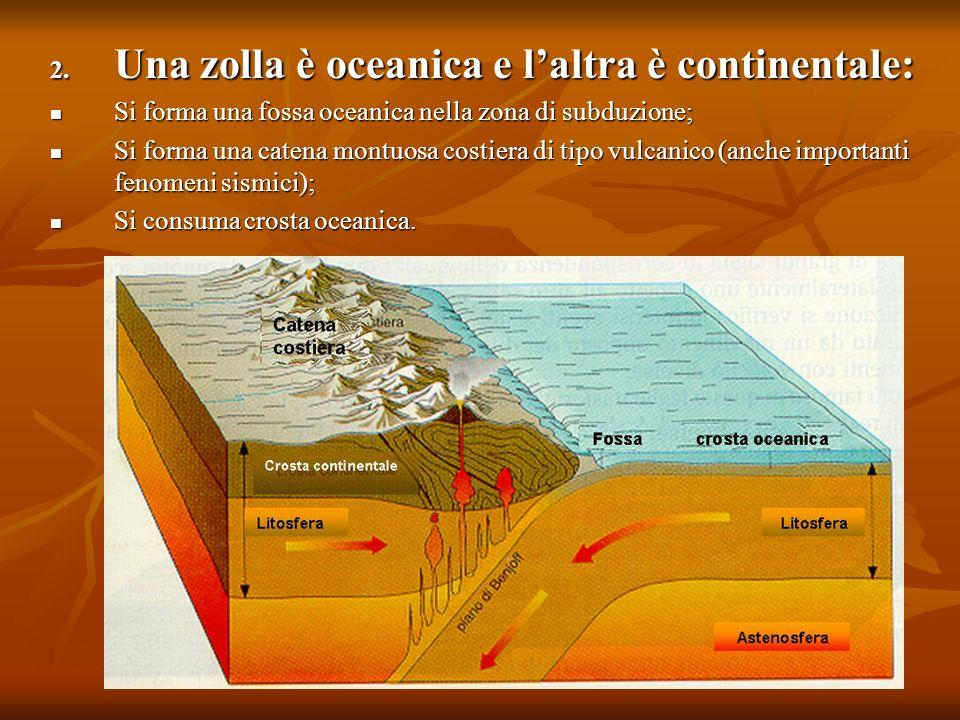 2. Una zolla è oceanica e laltra è continentale: Si forma una fossa oceanica nella zona di subduzione; Si forma una fossa oceanica nella zona di subdu