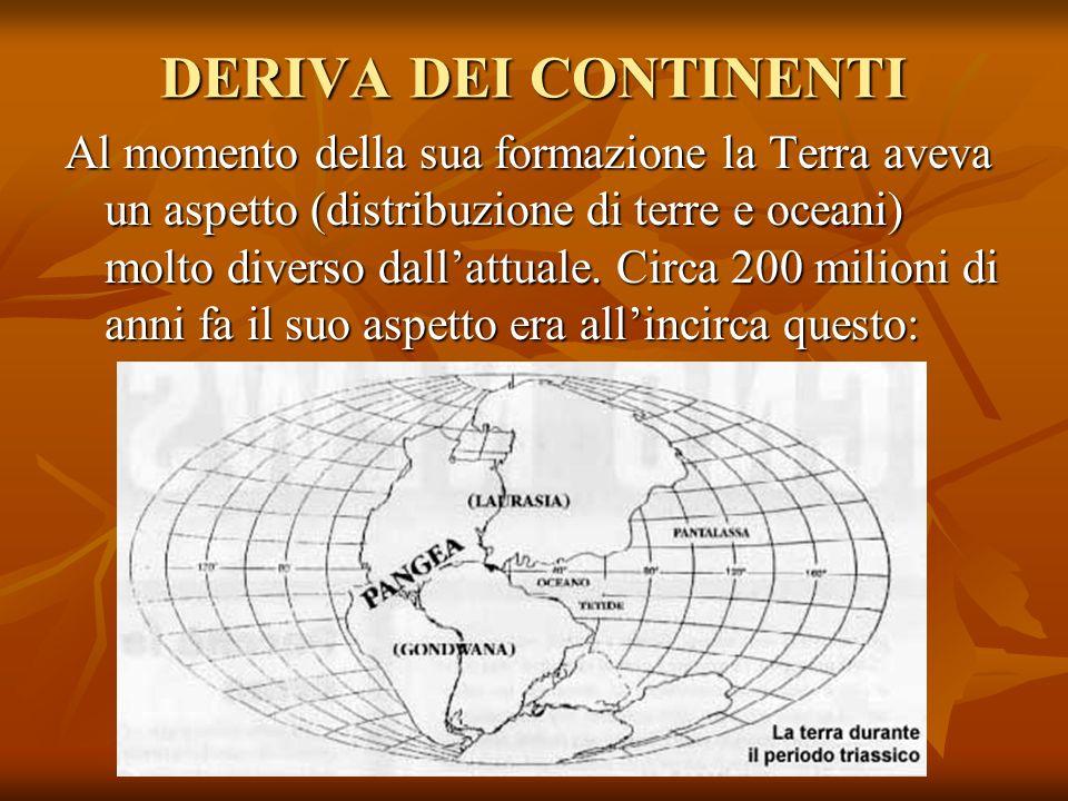 DERIVA DEI CONTINENTI Al momento della sua formazione la Terra aveva un aspetto (distribuzione di terre e oceani) molto diverso dallattuale. Circa 200