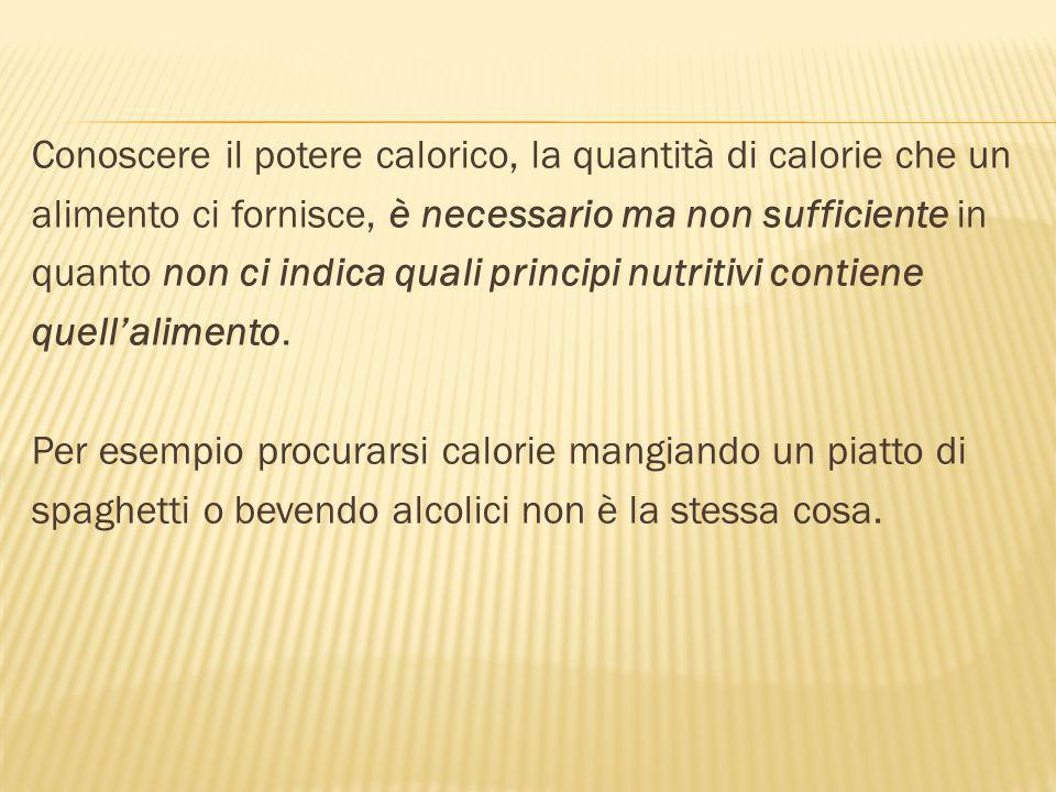 Conoscere il potere calorico, la quantità di calorie che un alimento ci fornisce, è necessario ma non sufficiente in quanto non ci indica quali principi nutritivi contiene quellalimento.