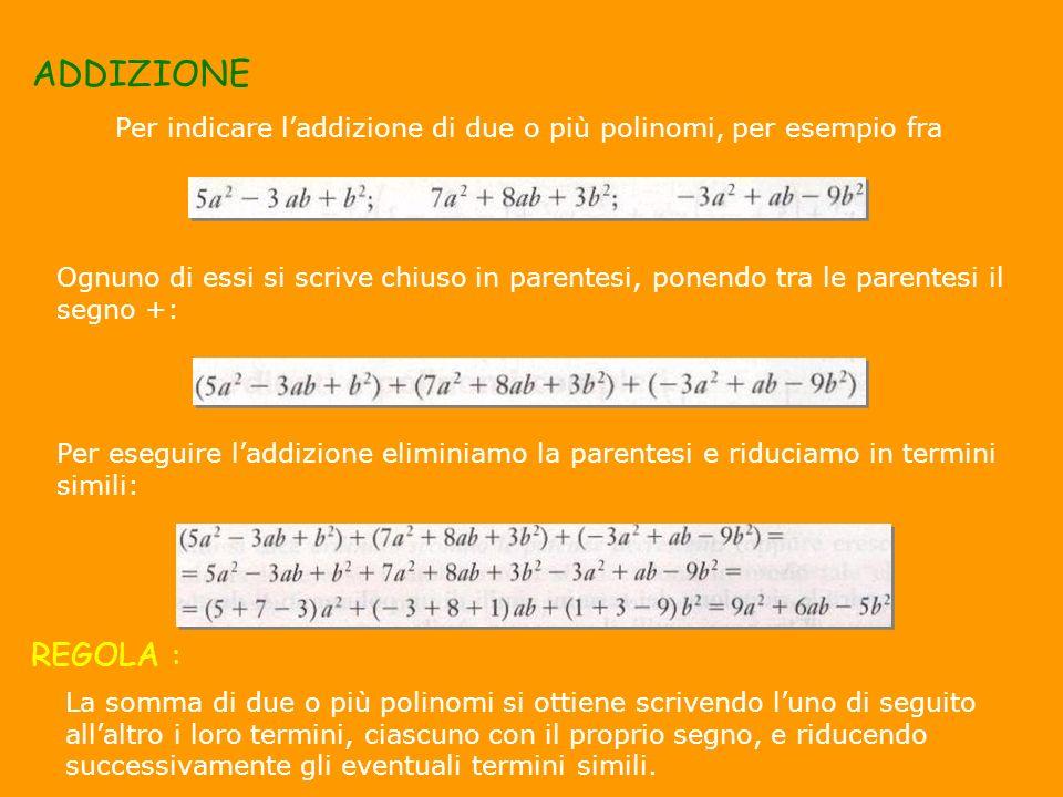 ADDIZIONE Per indicare laddizione di due o più polinomi, per esempio fra Ognuno di essi si scrive chiuso in parentesi, ponendo tra le parentesi il seg