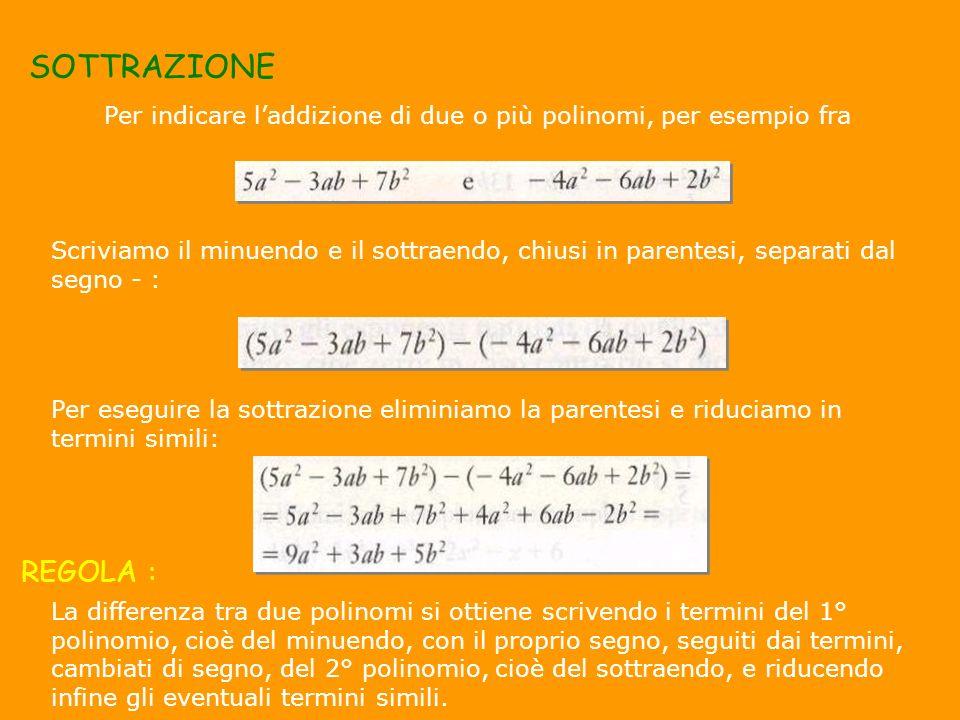 SOTTRAZIONE Per indicare laddizione di due o più polinomi, per esempio fra Scriviamo il minuendo e il sottraendo, chiusi in parentesi, separati dal se