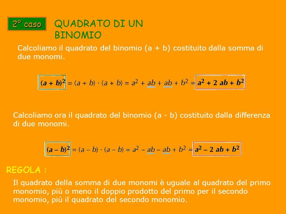 2° caso QUADRATO DI UN BINOMIO Calcoliamo il quadrato del binomio (a + b) costituito dalla somma di due monomi. Calcoliamo ora il quadrato del binomio