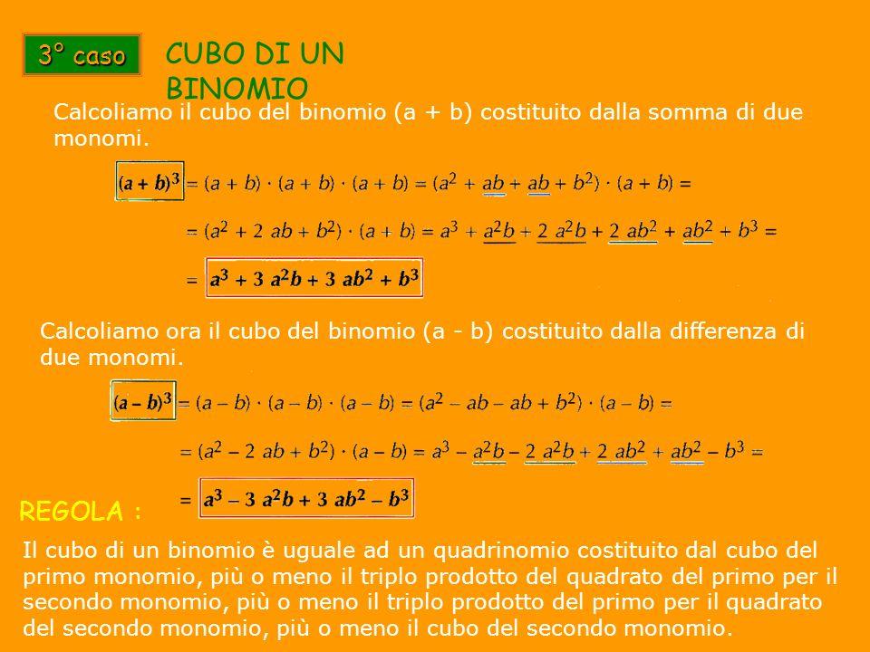 3° caso CUBO DI UN BINOMIO Il cubo di un binomio è uguale ad un quadrinomio costituito dal cubo del primo monomio, più o meno il triplo prodotto del q