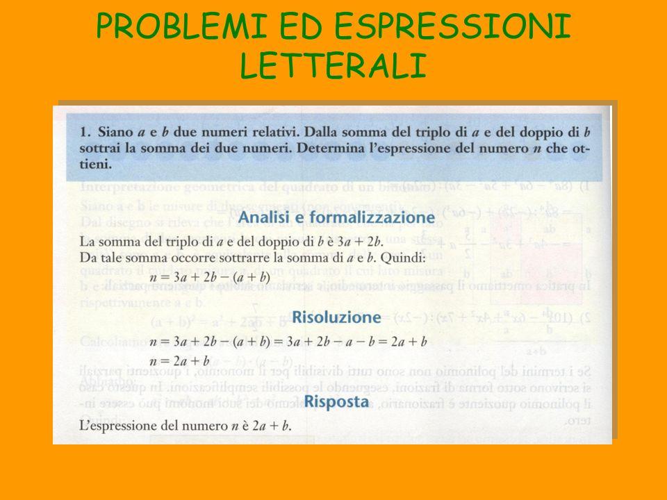 PROBLEMI ED ESPRESSIONI LETTERALI