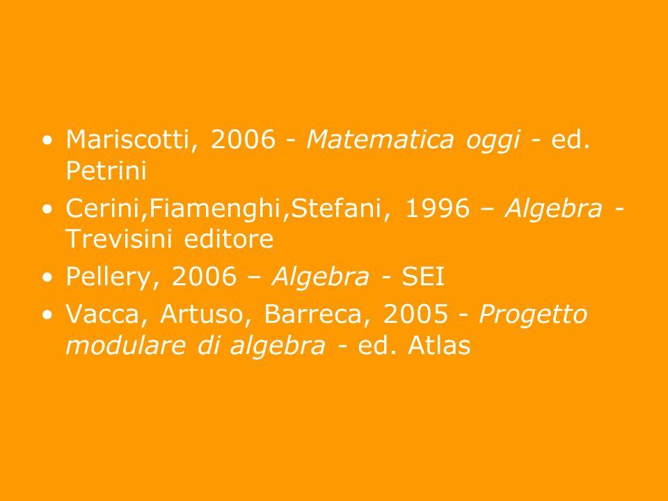 Mariscotti, 2006 - Matematica oggi - ed. Petrini Cerini,Fiamenghi,Stefani, 1996 – Algebra - Trevisini editore Pellery, 2006 – Algebra - SEI Vacca, Art