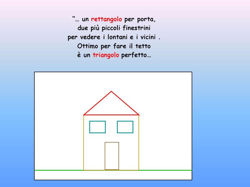 … un rettangolo per porta, due più piccoli finestrini per vedere i lontani e i vicini. Ottimo per fare il tetto è un triangolo perfetto…
