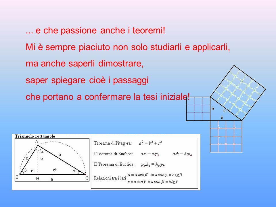 ... e che passione anche i teoremi! Mi è sempre piaciuto non solo studiarli e applicarli, ma anche saperli dimostrare, saper spiegare cioè i passaggi