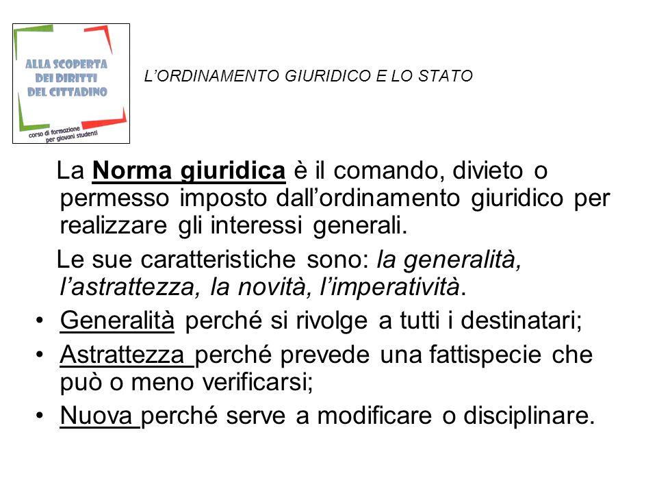LORDINAMENTO GIURIDICO E LO STATO La Sanzione è la conseguenza giuridica che segue alla violazione della norma.