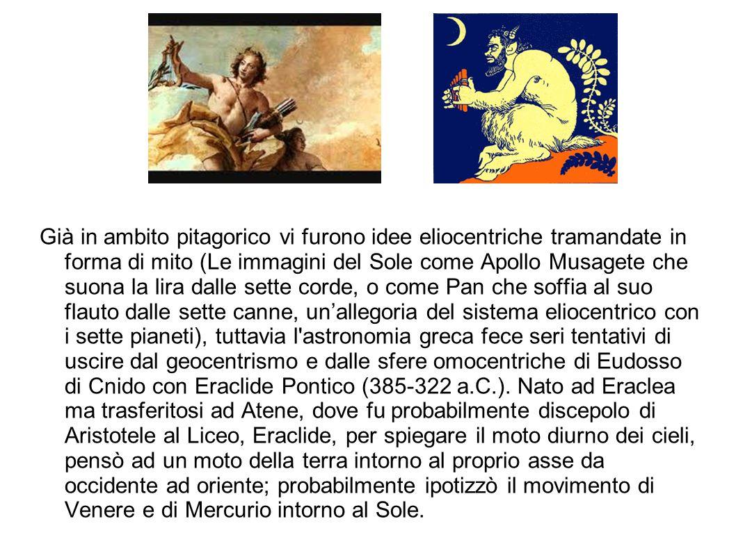 Già in ambito pitagorico vi furono idee eliocentriche tramandate in forma di mito (Le immagini del Sole come Apollo Musagete che suona la lira dalle s