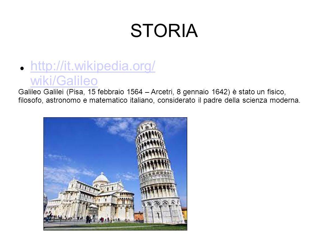 STORIA http://it.wikipedia.org/ wiki/Galileo http://it.wikipedia.org/ wiki/Galileo Galileo Galilei (Pisa, 15 febbraio 1564 – Arcetri, 8 gennaio 1642)
