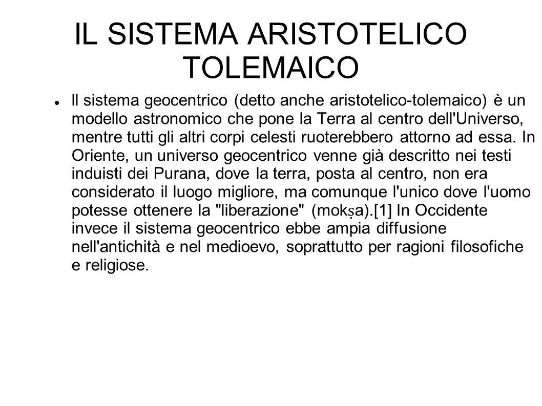 IL SISTEMA ARISTOTELICO TOLEMAICO ll sistema geocentrico (detto anche aristotelico-tolemaico) è un modello astronomico che pone la Terra al centro del