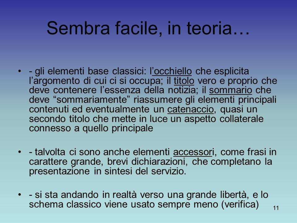 11 Sembra facile, in teoria… - gli elementi base classici: locchiello che esplicita largomento di cui ci si occupa; il titolo vero e proprio che deve