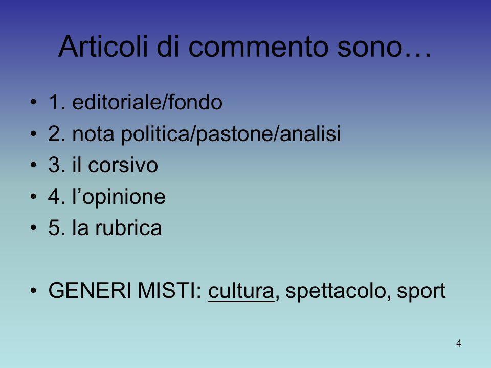 4 Articoli di commento sono… 1. editoriale/fondo 2. nota politica/pastone/analisi 3. il corsivo 4. lopinione 5. la rubrica GENERI MISTI: cultura, spet