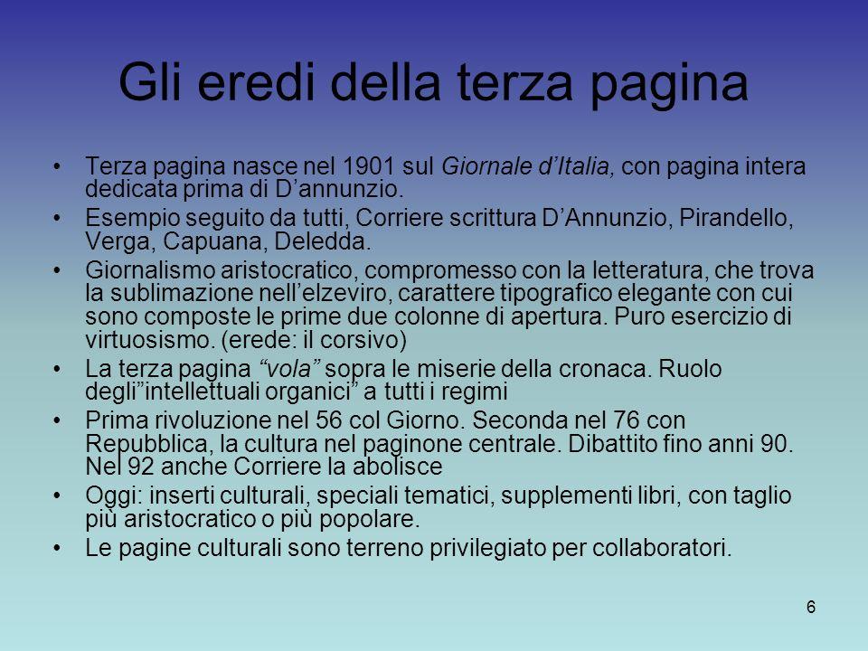 6 Gli eredi della terza pagina Terza pagina nasce nel 1901 sul Giornale dItalia, con pagina intera dedicata prima di Dannunzio. Esempio seguito da tut