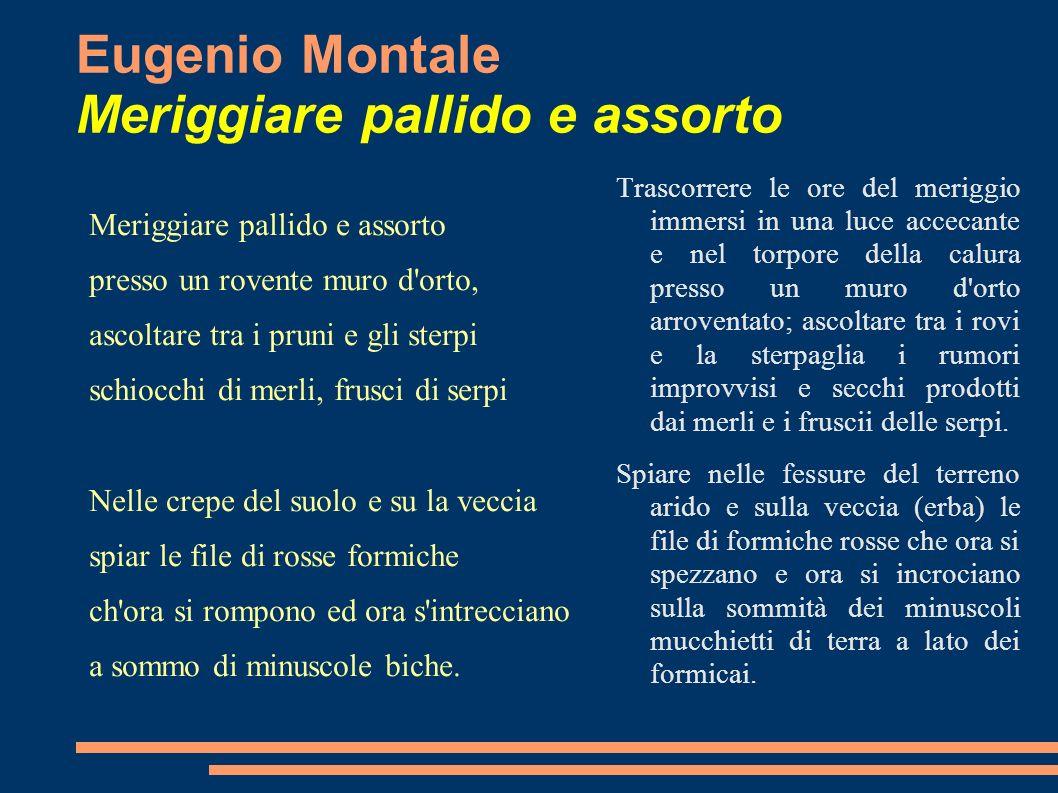 Eugenio Montale Meriggiare pallido e assorto Meriggiare pallido e assorto presso un rovente muro d'orto, ascoltare tra i pruni e gli sterpi schiocchi