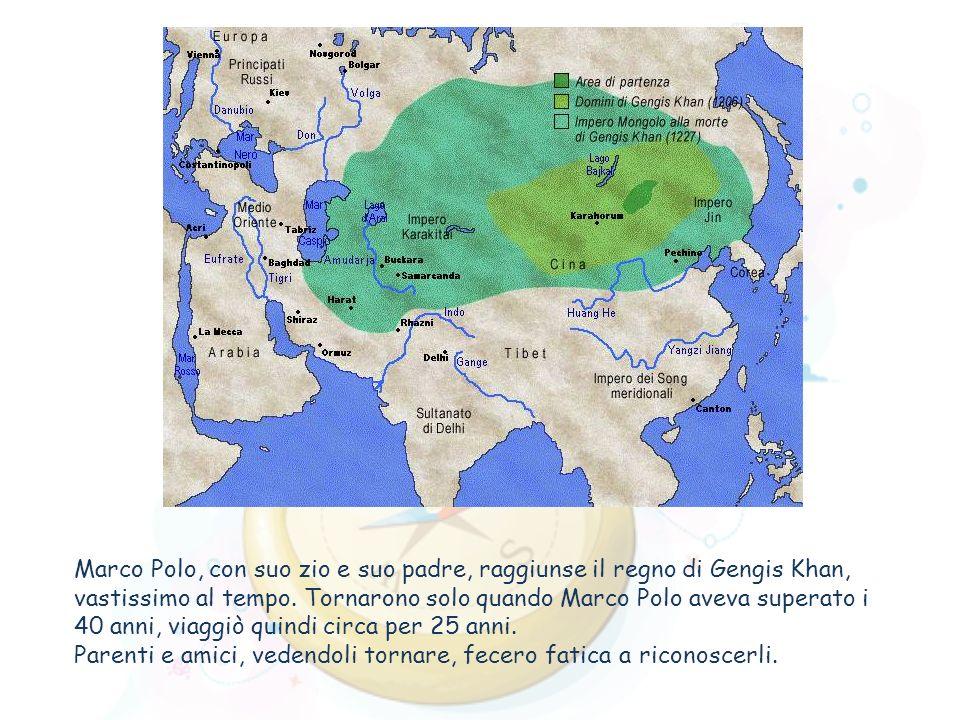 Marco Polo, con suo zio e suo padre, raggiunse il regno di Gengis Khan, vastissimo al tempo. Tornarono solo quando Marco Polo aveva superato i 40 anni