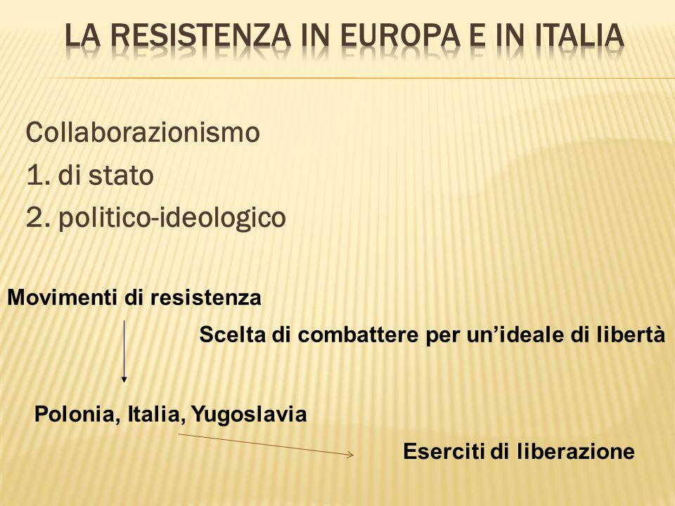 Collaborazionismo 1. di stato 2. politico-ideologico Movimenti di resistenza Scelta di combattere per unideale di libertà Polonia, Italia, Yugoslavia