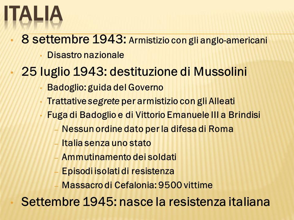 8 settembre 1943: Armistizio con gli anglo-americani Disastro nazionale 25 luglio 1943: destituzione di Mussolini Badoglio: guida del Governo Trattati