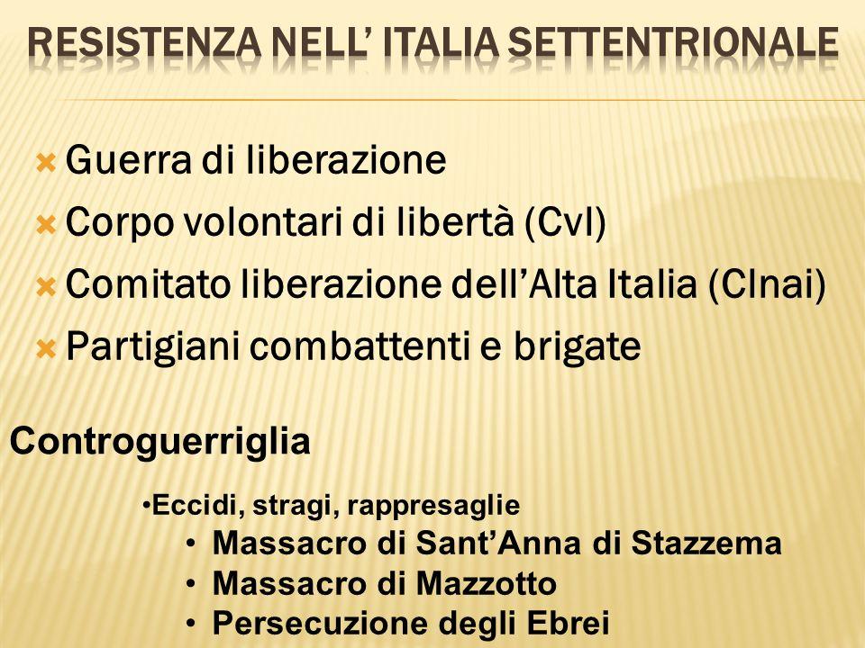 Guerra di liberazione Corpo volontari di libertà (Cvl) Comitato liberazione dellAlta Italia (Clnai) Partigiani combattenti e brigate Controguerriglia