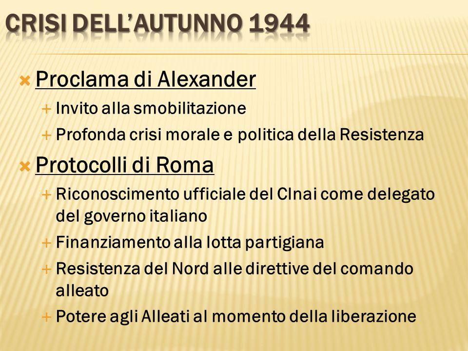 Proclama di Alexander Invito alla smobilitazione Profonda crisi morale e politica della Resistenza Protocolli di Roma Riconoscimento ufficiale del Cln