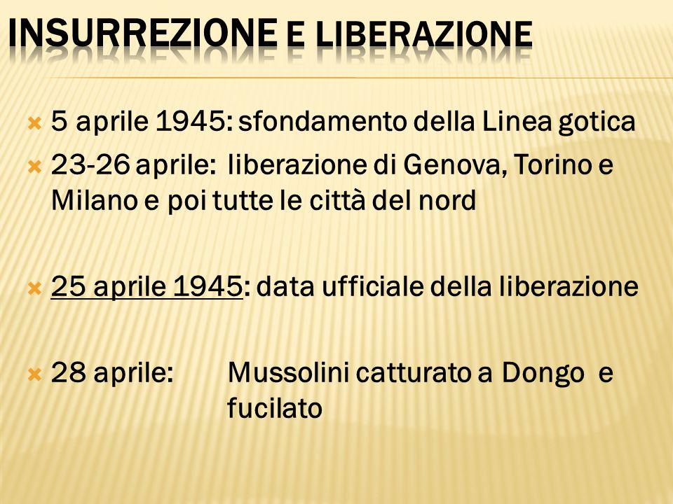 5 aprile 1945: sfondamento della Linea gotica 23-26 aprile:liberazione di Genova, Torino e Milano e poi tutte le città del nord 25 aprile 1945: data u