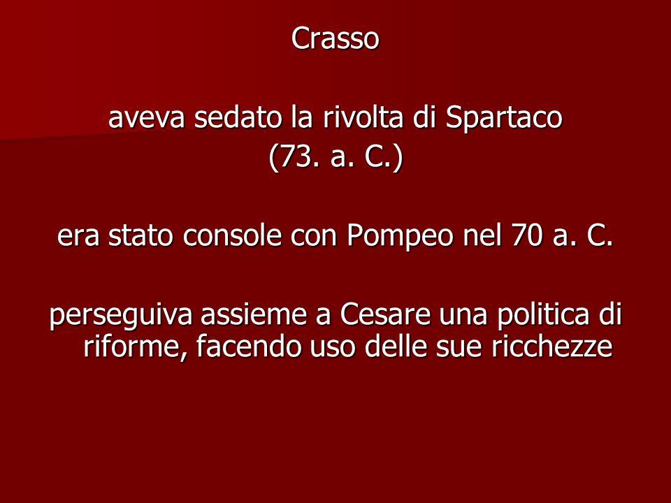 Crasso aveva sedato la rivolta di Spartaco (73. a. C.) era stato console con Pompeo nel 70 a. C. perseguiva assieme a Cesare una politica di riforme,