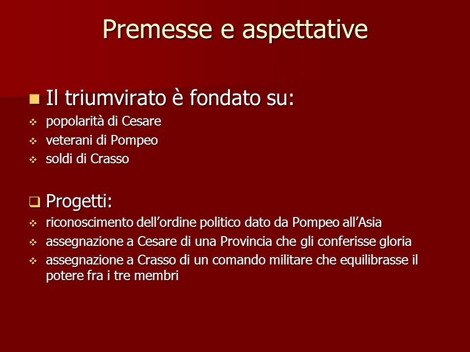 Premesse e aspettative Il triumvirato è fondato su: popolarità di Cesare veterani di Pompeo soldi di Crasso Progetti: riconoscimento dellordine politi