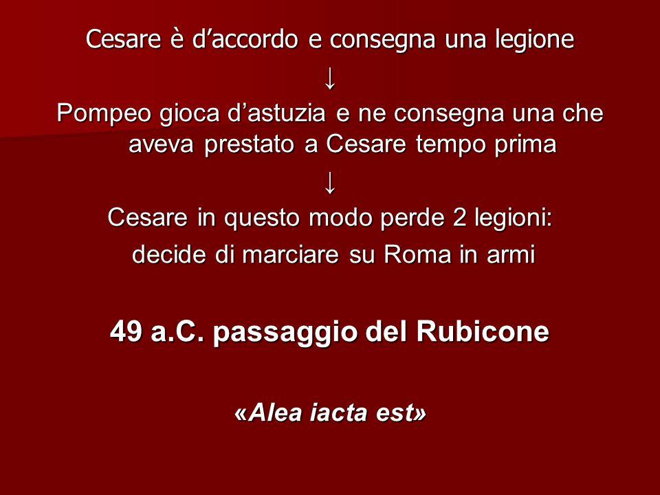 Cesare è daccordo e consegna una legione Pompeo gioca dastuzia e ne consegna una che aveva prestato a Cesare tempo prima Cesare in questo modo perde 2