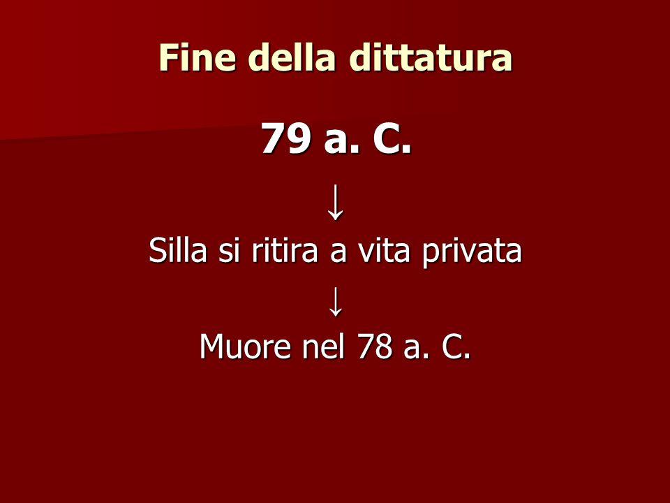 Fine della dittatura 79 a. C. Silla si ritira a vita privata Muore nel 78 a. C.