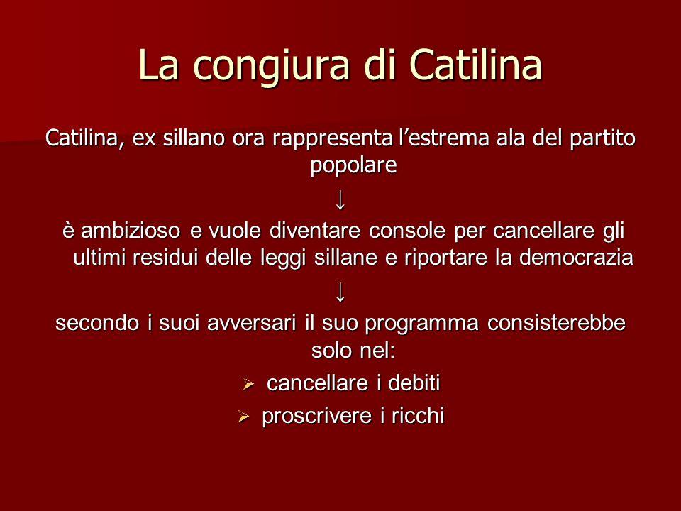 La congiura di Catilina Catilina, ex sillano ora rappresenta lestrema ala del partito popolare è ambizioso e vuole diventare console per cancellare gl