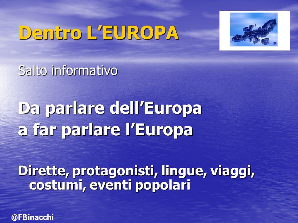 Dentro LEUROPA Salto informativo Da parlare dellEuropa a far parlare lEuropa Dirette, protagonisti, lingue, viaggi, costumi, eventi popolari @FBinacch