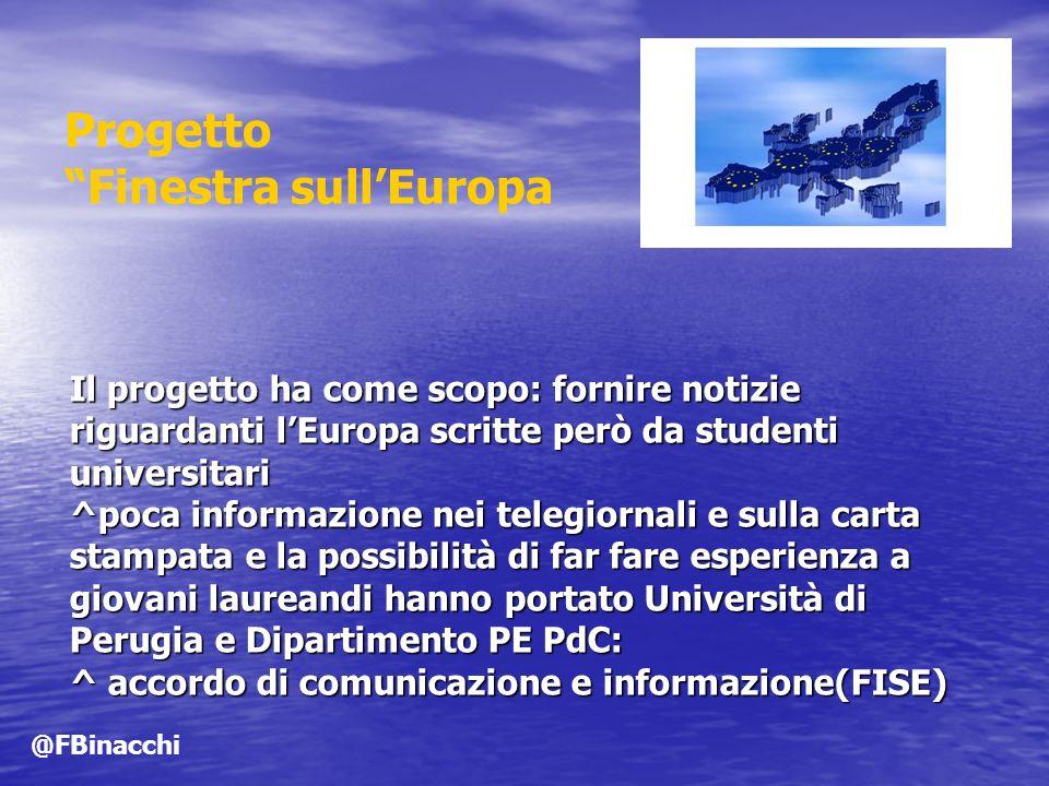 Il progetto ha come scopo: fornire notizie riguardanti lEuropa scritte però da studenti universitari ^poca informazione nei telegiornali e sulla carta