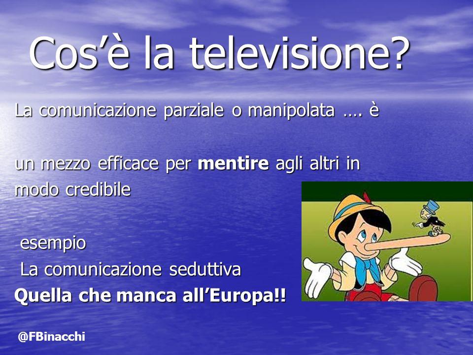 Cosè la televisione? La comunicazione parziale o manipolata …. è un mezzo efficace per mentire agli altri in modo credibile esempio esempio La comunic