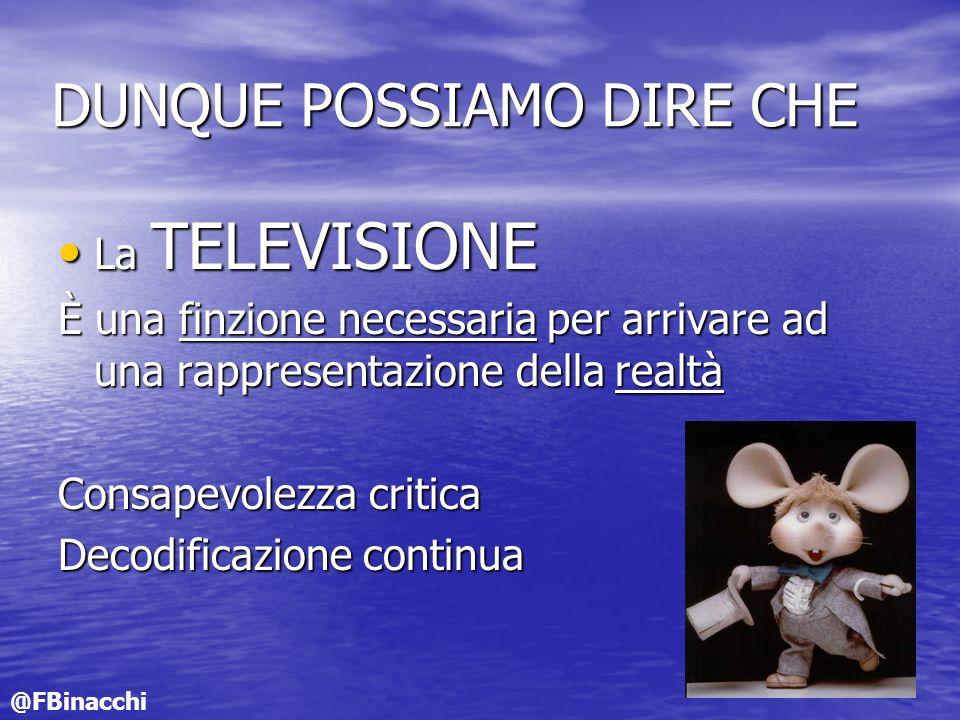 DUNQUE POSSIAMO DIRE CHE La TELEVISIONE La TELEVISIONE È una finzione necessaria per arrivare ad una rappresentazione della realtà Consapevolezza crit