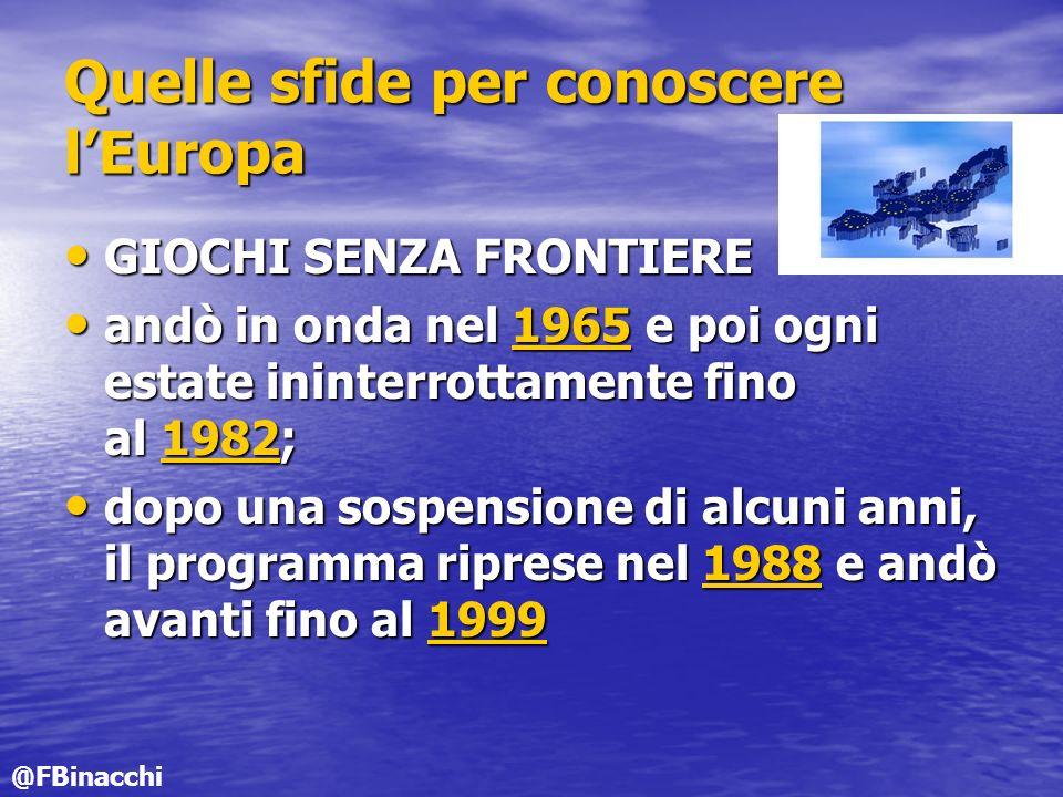 Quelle sfide per conoscere lEuropa GIOCHI SENZA FRONTIERE GIOCHI SENZA FRONTIERE andò in onda nel 1965 e poi ogni estate ininterrottamente fino al 1982; andò in onda nel 1965 e poi ogni estate ininterrottamente fino al 1982;1965198219651982 dopo una sospensione di alcuni anni, il programma riprese nel 1988 e andò avanti fino al 1999 dopo una sospensione di alcuni anni, il programma riprese nel 1988 e andò avanti fino al 19991988199919881999 @FBinacchi