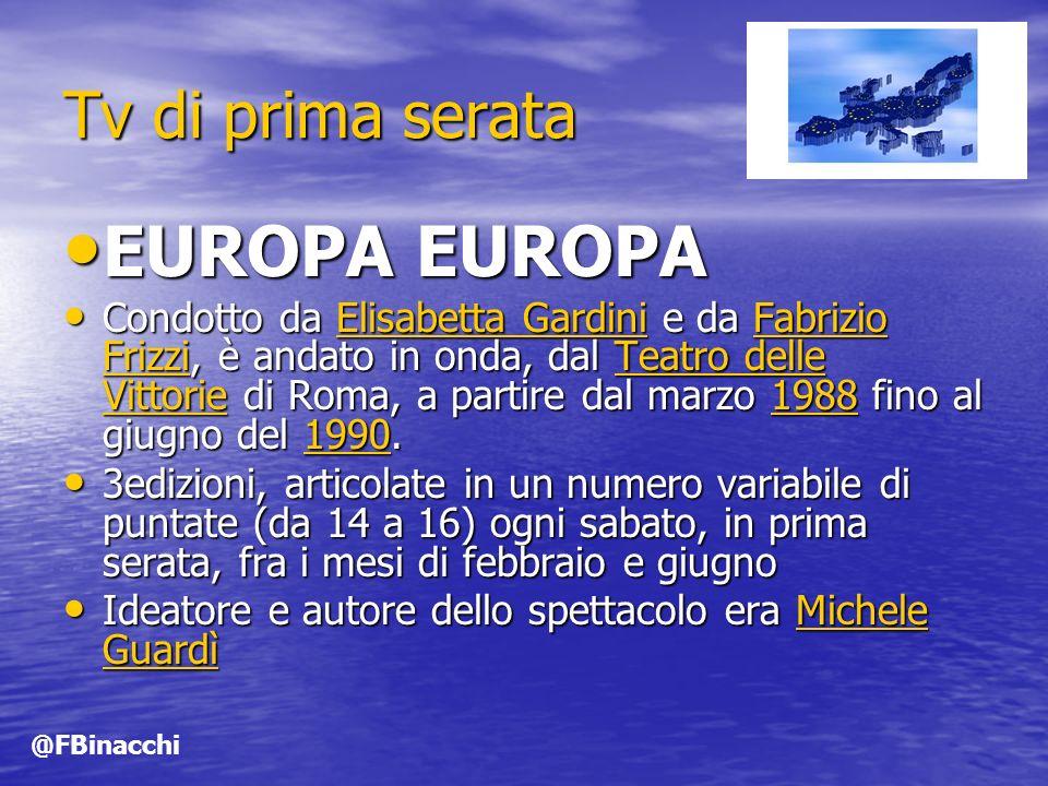 Tv di prima serata EUROPA EUROPA EUROPA EUROPA Condotto da Elisabetta Gardini e da Fabrizio Frizzi, è andato in onda, dal Teatro delle Vittorie di Roma, a partire dal marzo 1988 fino al giugno del 1990.