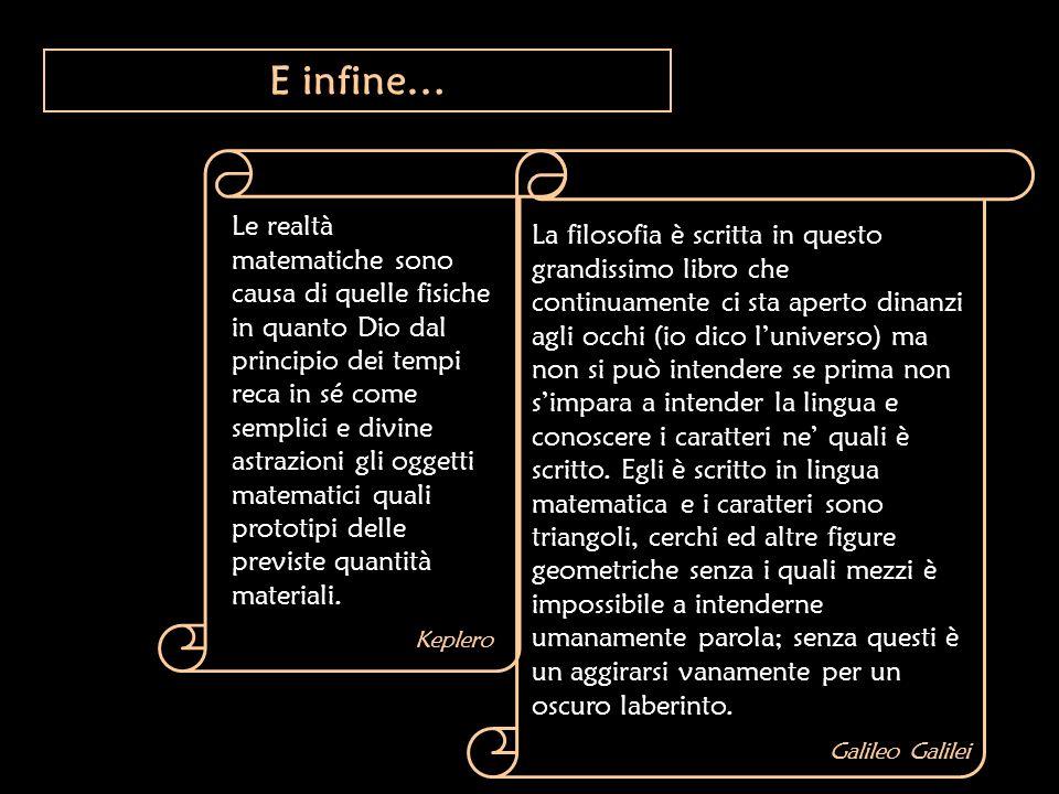 E infine… Le realtà matematiche sono causa di quelle fisiche in quanto Dio dal principio dei tempi reca in sé come semplici e divine astrazioni gli og