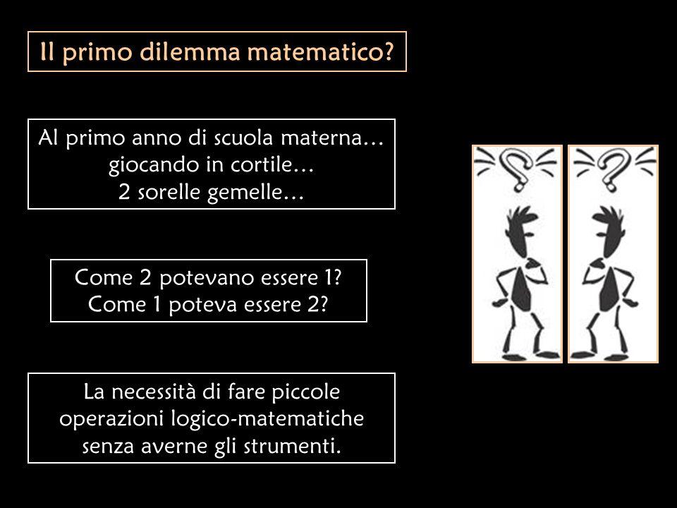 Il primo dilemma matematico? Al primo anno di scuola materna… giocando in cortile… 2 sorelle gemelle… Come 2 potevano essere 1? Come 1 poteva essere 2
