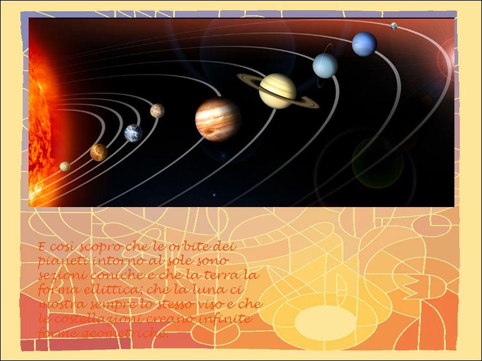 E così scopro che le orbite dei pianeti intorno al sole sono sezioni coniche e che la terra la forma ellittica; che la luna ci mostra sempre lo stesso