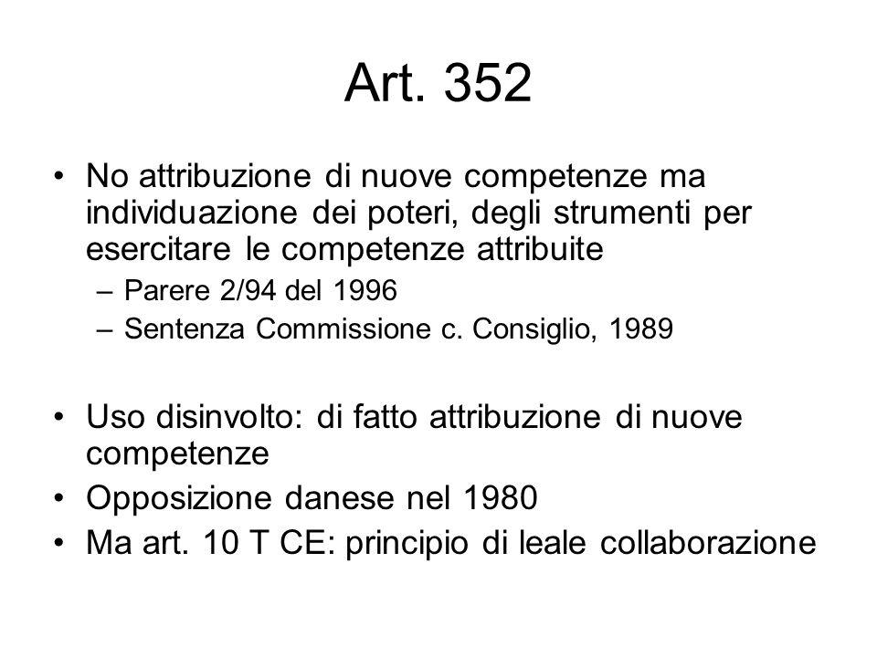 Art. 352 No attribuzione di nuove competenze ma individuazione dei poteri, degli strumenti per esercitare le competenze attribuite –Parere 2/94 del 19