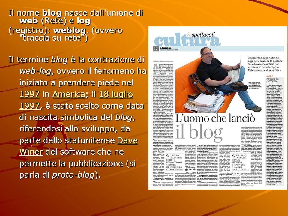 Il nome blog nasce dall'unione di web (Rete) e log (registro): weblog. (ovvero