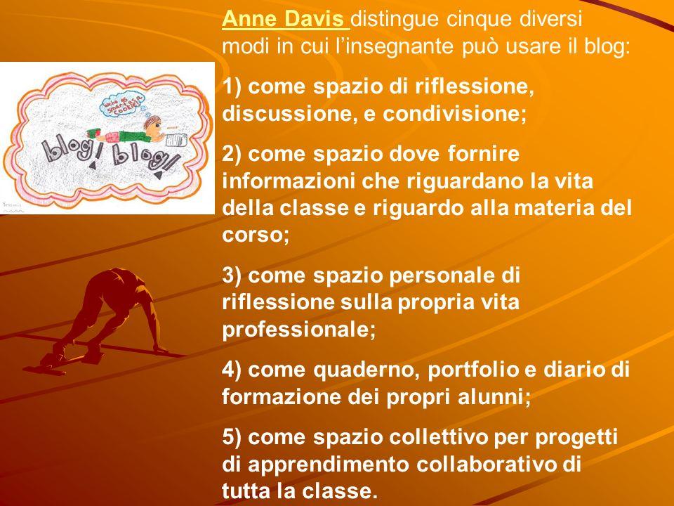 Anne Davis Anne Davis distingue cinque diversi modi in cui linsegnante può usare il blog: 1) come spazio di riflessione, discussione, e condivisione;