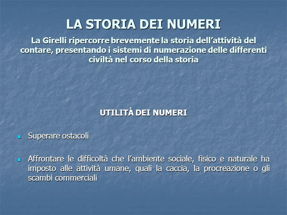 LA STORIA DEI NUMERI La Girelli ripercorre brevemente la storia dellattività del contare, presentando i sistemi di numerazione delle differenti civilt