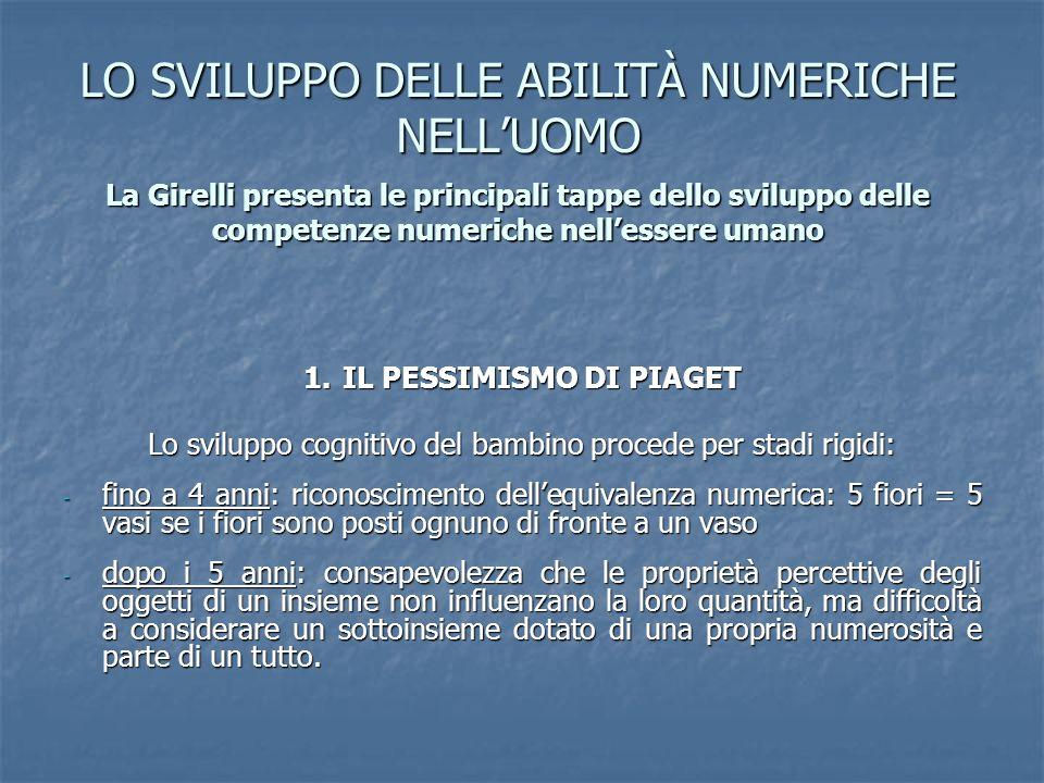 LO SVILUPPO DELLE ABILITÀ NUMERICHE NELLUOMO La Girelli presenta le principali tappe dello sviluppo delle competenze numeriche nellessere umano 1.IL P