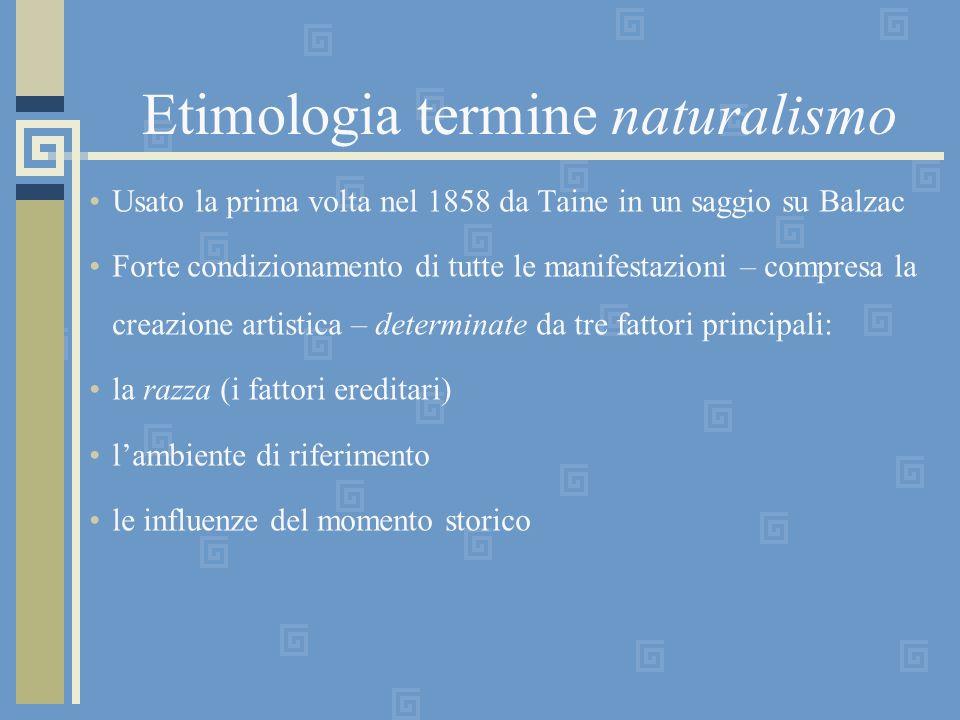 Etimologia termine naturalismo Usato la prima volta nel 1858 da Taine in un saggio su Balzac Forte condizionamento di tutte le manifestazioni – compre