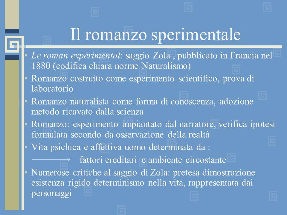 Il romanzo sperimentale Le roman expérimental: saggio Zola, pubblicato in Francia nel 1880 (codifica chiara norme Naturalismo) Romanzo costruito come