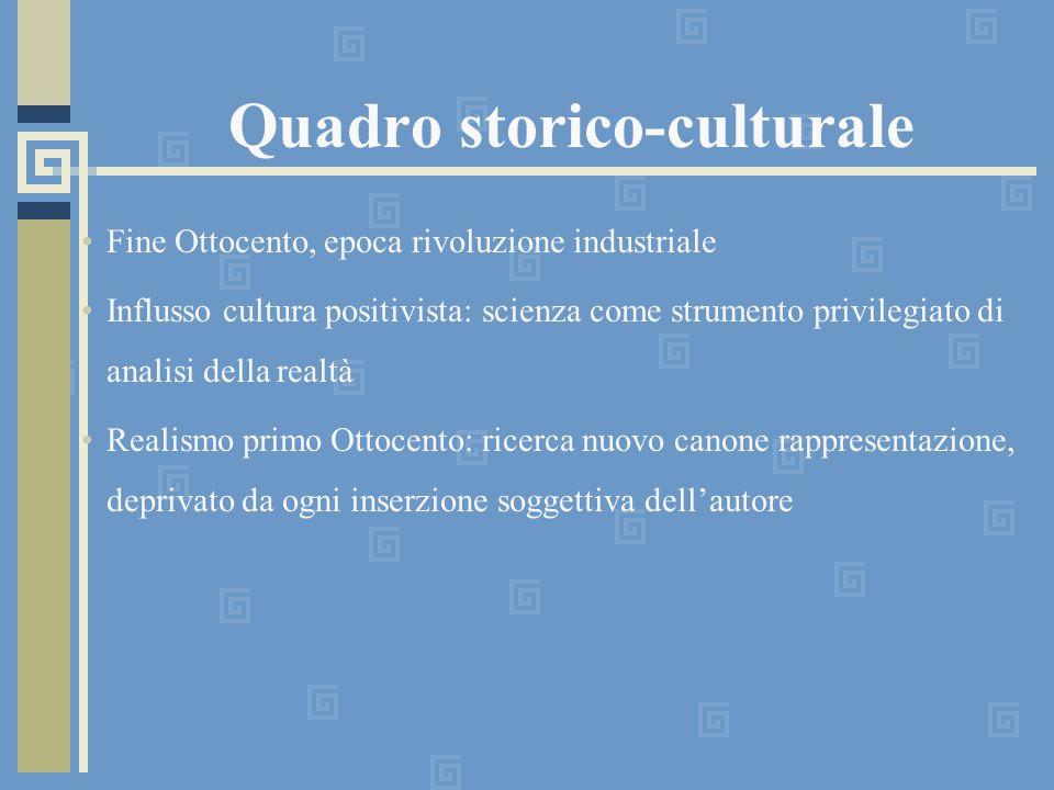 Quadro storico-culturale Fine Ottocento, epoca rivoluzione industriale Influsso cultura positivista: scienza come strumento privilegiato di analisi de