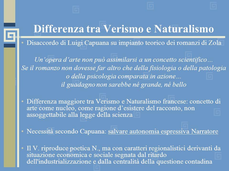 Differenza tra Verismo e Naturalismo Disaccordo di Luigi Capuana su impianto teorico dei romanzi di Zola Unopera darte non può assimilarsi a un concet